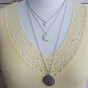 New Lucky Brand Silver Tone Layered Necklace